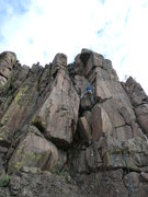 Rock Climbing Photo: Mike Keegan heading into the last corner.