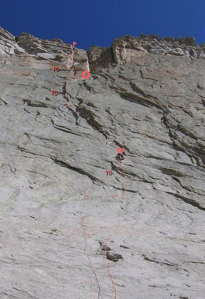 The whole route with climber at end of P.1.
