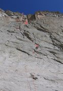 Rock Climbing Photo: The whole route with climber at end of P.1.