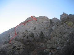 Rock Climbing Photo: Red Line shows the approximation of the route
