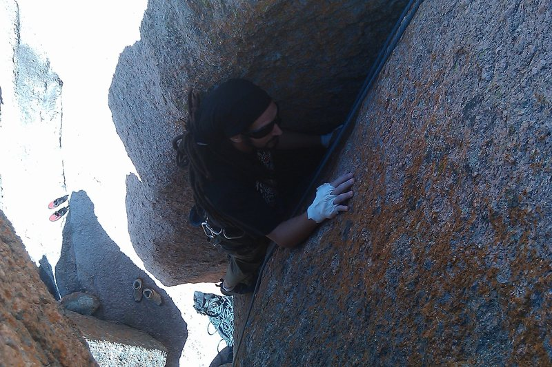 Rock Climbing Photo: Ale pulls through the crux!