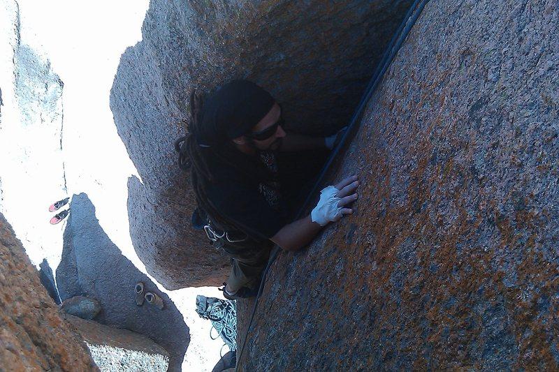 Rock Climbing Photo: Ale pulls through the crux!