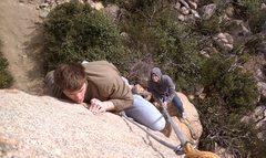 Rock Climbing Photo: Pimpin and crimpin.  Greg H on Freydis.