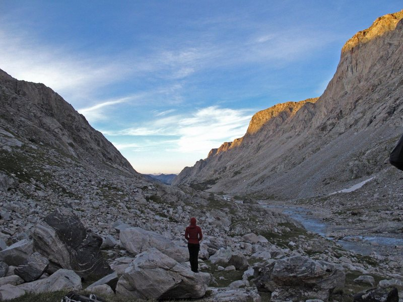 Looking down Dinwoody Basin, Wind River Range, WY.