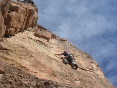 Rock Climbing Photo: Just finishing the crux.  Photo by Carl Brockhoff.