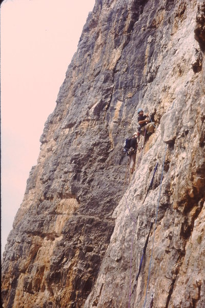 Rock Climbing Photo: Two groups climbing the crux nearly on top of each...