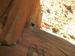 Rock Climbing Photo: Jessica starting up pitch 3.  The death block is j...