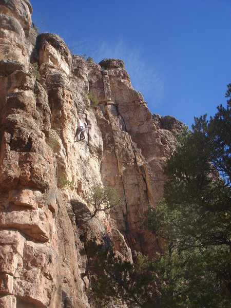 Wes in the crux of Piñon Slalom.