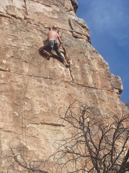 Craig in the upper crack.