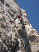 "Rock Climbing Photo: Richard Shore at the ""Step Across"" on Le..."