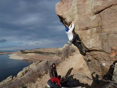 Rock Climbing Photo: Aki enjoying the superb position on Sunshine.