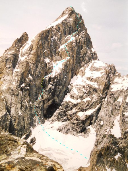 Rock Climbing Photo: Grand Teton, North Face Taken from Mount Teewinot ...