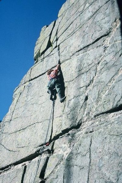 Rock Climbing Photo: 5.9 finger crack left of Pseudo Cenotaph.  1976, c...