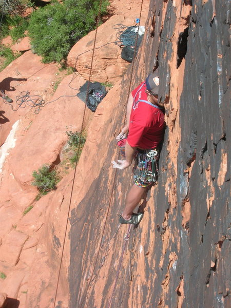 Rock Climbing Photo: Chris H using the hands free head jamb Panty Raid,...