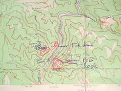 Rock Climbing Photo: Map of Big Rock Candy Mountain.  Blue - steep road...