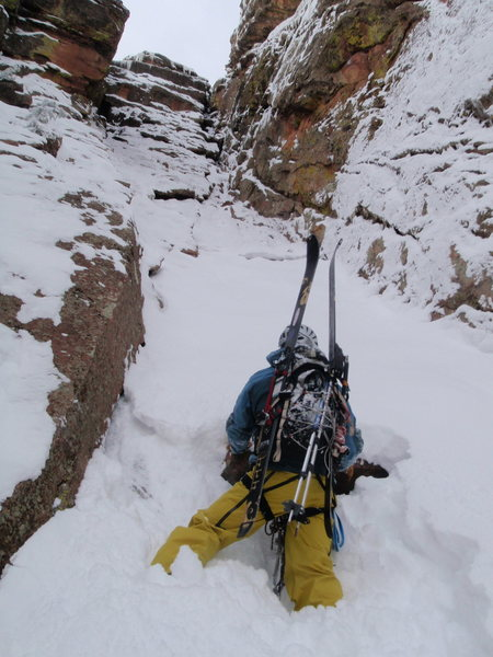 Almost at the top of the ski line.  3rd Flatiron Boulder, CO