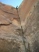 Rock Climbing Photo: Into the wide pod at the top.  Not so graceful