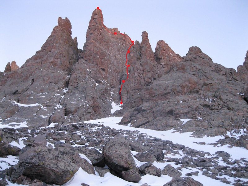 The route Prise de Fer shown in red.  Photo by Andy Grauch, 1/29/11.