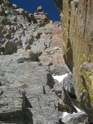 Rock Climbing Photo: Chris Sheridan at the top of the 3rd pitch of Pris...
