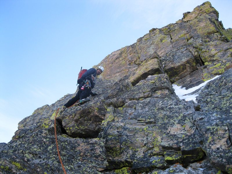 Andy Grauch starting up the east ridge of The Saber on 1/29/11.  Photo by Chris Sheridan.