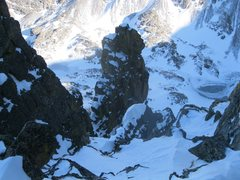 Rock Climbing Photo: Looking down at the Lake of Glass, The Foil, and S...