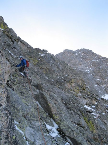 Rock Climbing Photo: Chris Sheridan climbing the last pitch to the summ...