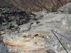 Rock Climbing Photo: Looking down the 2nd pitch