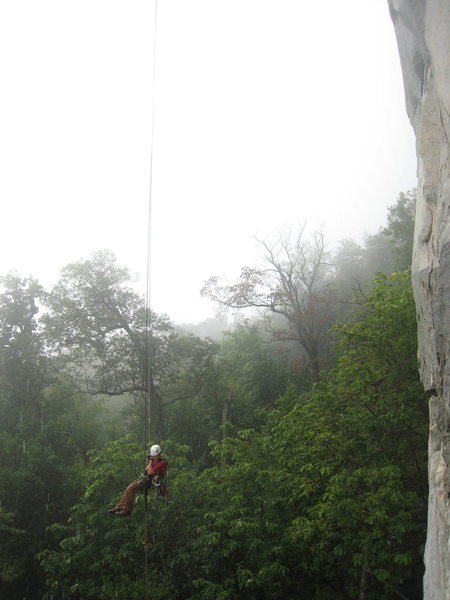 someone rapping off in the rain routes overhung for sure and that guys rope was like 10 feet short of the ground