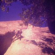 Rock Climbing Photo: Lou Dawson higher up Stone Groove, fall 1973