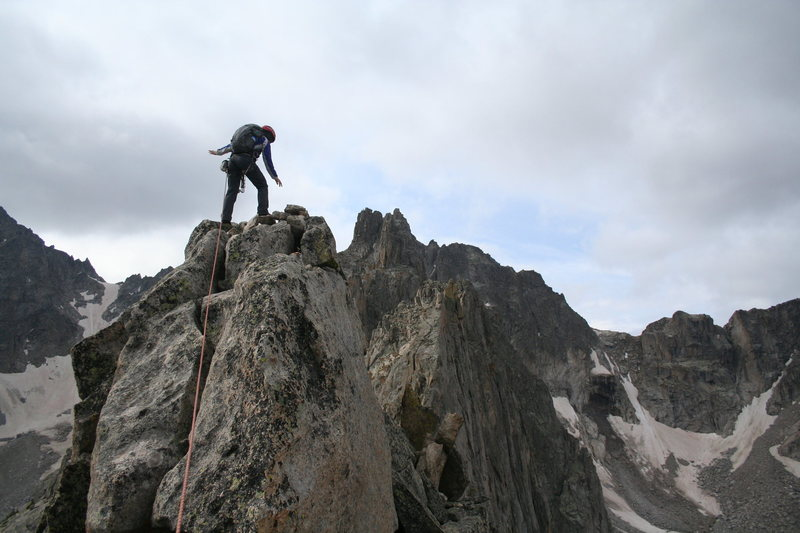 Rock Climbing Photo: Becky ON the summit! (climbing from the North Face...