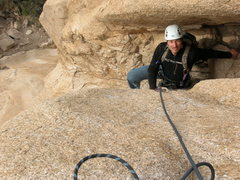 Rock Climbing Photo: Mark following P1. Clipping this last bolt was.......
