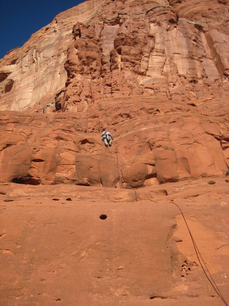 Rock Climbing Photo: Phil at the second bulge of P1. anchors are next t...