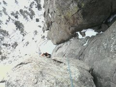 Rock Climbing Photo: partner seconding pitch 4 in mid-january. The mass...
