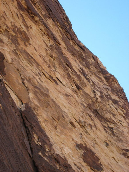 Rock Climbing Photo: looking up at the bulge and steep climbing on p7