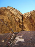 Rock Climbing Photo: the right most of two cracks in the huge roof at p...
