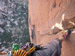 Rock Climbing Photo: p8 belay looking down