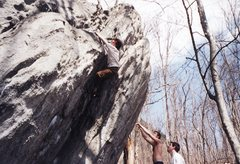 Rock Climbing Photo: Crescent Crack V2 Rumbling Bald   Spring 2004