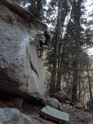 Rock Climbing Photo: Dale's Arete V4 topout Hidden Forest, Little Cotto...
