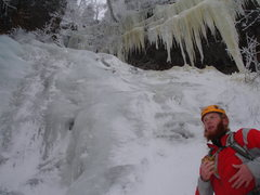 Rock Climbing Photo: Chad professing his love for ice at the base of LH...