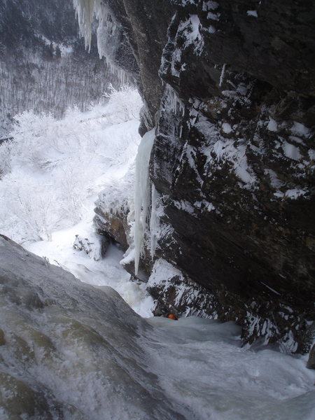 Rock Climbing Photo: Looking down at Chad making his way up upper hitch...