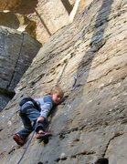 Rock Climbing Photo: First lead on Acrophobics Anonymous (5.4).