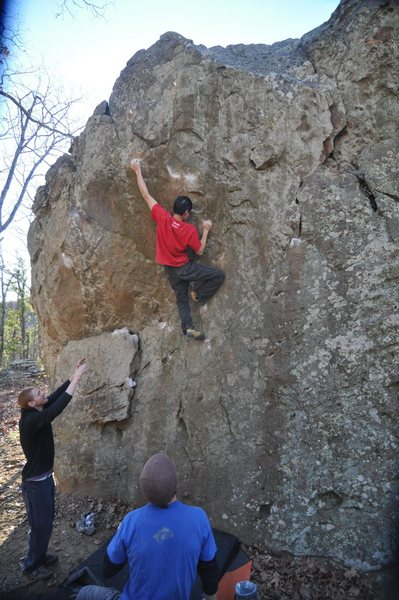 Evan at the crux of Center Spooge at Fountain Red, Arkansas