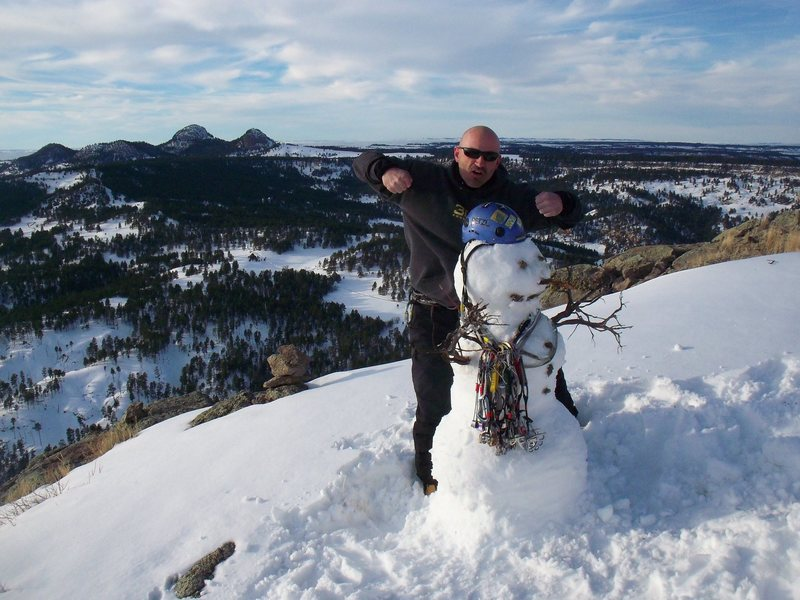 Rock Climbing Photo: Could this be the first ever SNOWMAN on top of DEV...