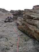 Rock Climbing Photo: Scott Kimball leading P3.  8/1/10.