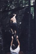 Rock Climbing Photo: V7 Matrix area Mt. Gretna, early ascent