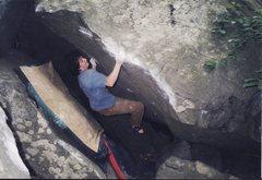 Rock Climbing Photo: V5 near the start of the main area, Haycock Mounta...