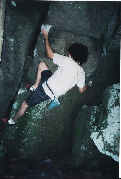 Halloween Roof first ascent 7/15/2001, Mt. Gretna.  Located downhill and left of the Shamoo boulder, near the Bulge(V10).  The rock to the left of the crack as well as the crack is off.<br> <br> I understand that this problem may now be referred to as Bashista Yo Sista (V5-6).  I am not sure what that means...