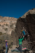 Rock Climbing Photo: Ronnie J setting up for the crux