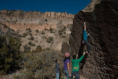 "Rock Climbing Photo: Ronnie J sticking the crux with the ""wrong&qu..."