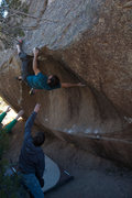 Rock Climbing Photo: Ronnie J committing to an interesting method of to...